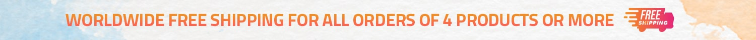 WORLDWIDE FREE SHIPPING FOR ALL ORDERS OF 4 PRODUCTS OR MORE