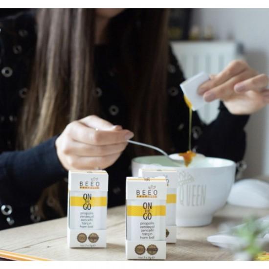 BEEO On the Go Turmeric Cinnamon Ginger Raw Honey Propolis Immune Support 14 packs x 7g, 98g