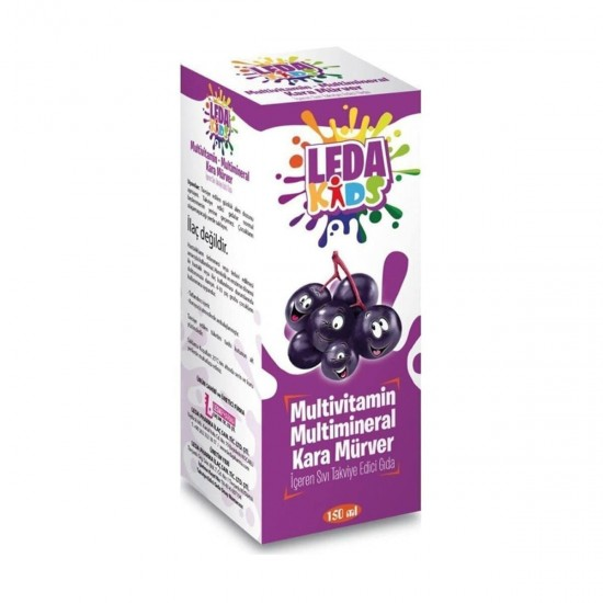 LedaPharma Turkish Black Elderberry Syrup for Kids, Supported by Zinc and Beta Glucan Vitamin C, 125 ml