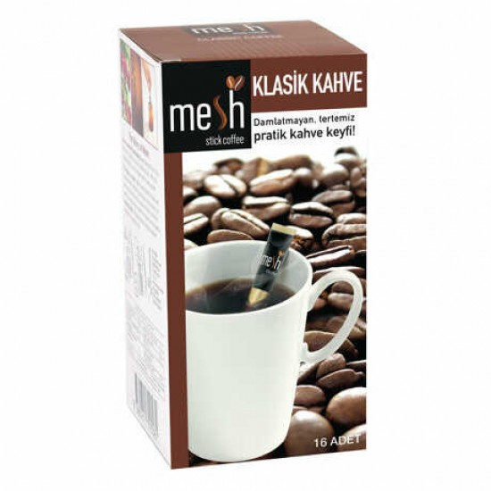 MESH Stick Turkish Coffee, Turkish Coffee in Sticks, Innovative Infuser Sticks, Turkish Coffee, No Artificial Colors No Flavors, 1 Pack of 16 Sticks, 32g
