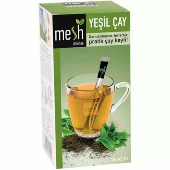 MESH Stick Green Tea, Green Tea in Sticks, Innovative Infuser Sticks, No Artificial Colors No Flavors, 1 Pack of 16 Sticks, 32g