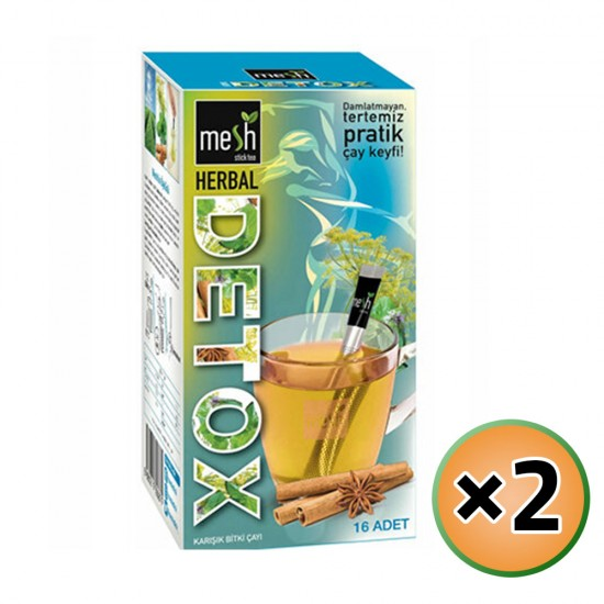MESH Stick Detox Herbal Tea, Herbal Detox Tea in Sticks, Innovative Infuser Sticks, No Artificial Colors No Flavors, 2 Pack of 16 Sticks, 32 Sticks, 64g
