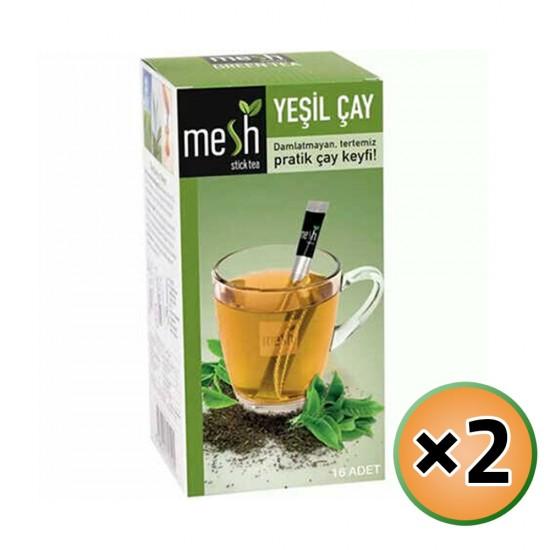 MESH Stick Green Tea, Green Tea in Sticks, Innovative Infuser Sticks, No Artificial Colors No Flavors, 2 Pack of 16 Sticks, 32 Sticks, 64g