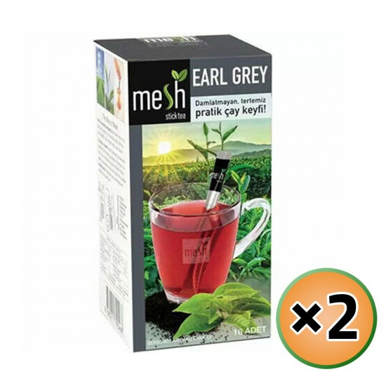 MESH Stick Earl Grey Tea, Earl Grey Tea in Sticks, Innovative Infuser Sticks, Black Tea with Bergamot, No Artificial Colors No Flavors, 2 Pack of 16 Sticks, 32 Sticks, 64g