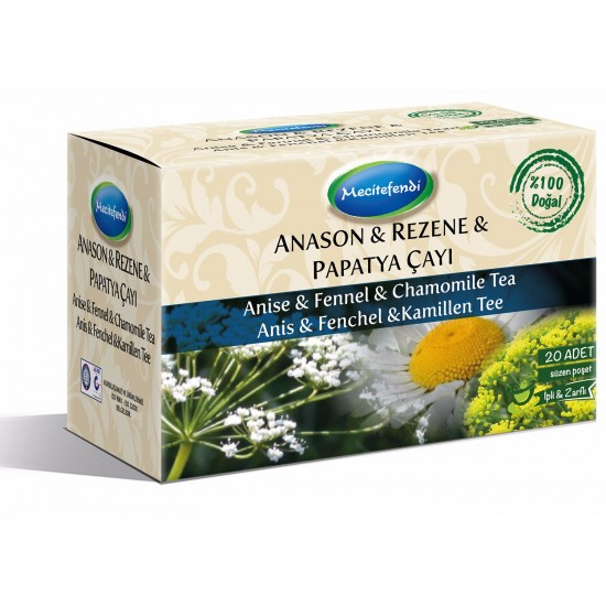 Anise, Fennel, and Chamomile Tea, Turkish Herbal Tea, 20 Teabags