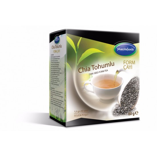 صيغة الرشاقة والقوة, شاي بذور الشيا مع 14 مكون نباتي, 40 كيس