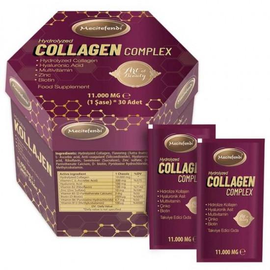 Collagen Complex Powder, Hydrolyzed Collagen Peptides + Vitamin C, B2, B5, B6, B12, Biotin, Hyaluronic Acid, Zinc. Collagen Type 1 & 3, 11,000 mg Per Serving, 30 Sachets, 330 gr
