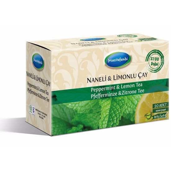 Peppermint and Lemon tea, popular tea in Turkey, 20 Teabags