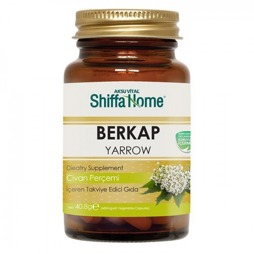 BERKAP hemorrhoid Herbal Capsules, Yarrow Herb Capsules, 7 herbs, Propolis Extract, Pollen, 680 mg, 60 Caps