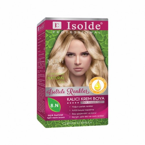 Isolde Multi Plus, Turkish Permanent Herbal Haircolor Cream,8.N Light warm brown, 135ml
