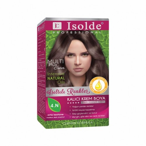 Isolde Multi Plus, Turkish Permanent Herbal Haircolor Cream,4.N, dark chestnut,135 ml