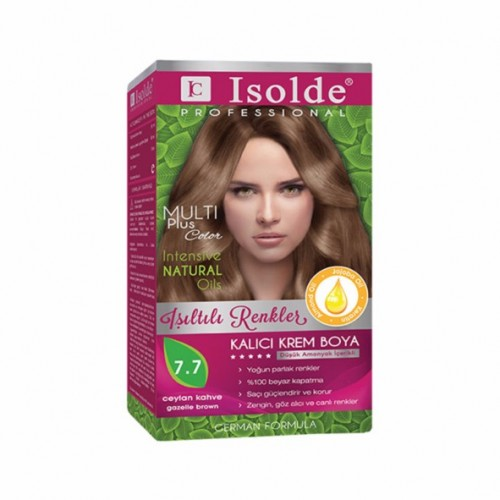 Isolde Multi Plus, Turkish Permanent Herbal Haircolor Cream,7.7, Gazelle brown,135 ml