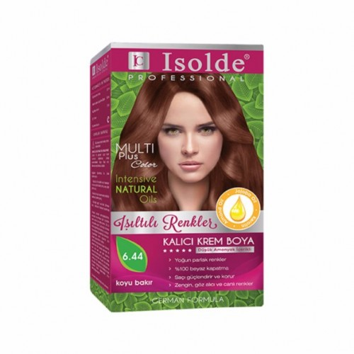 Isolde Multi Plus, Turkish Permanent Herbal Haircolor Cream,6.44, Dark Copper,135 ml