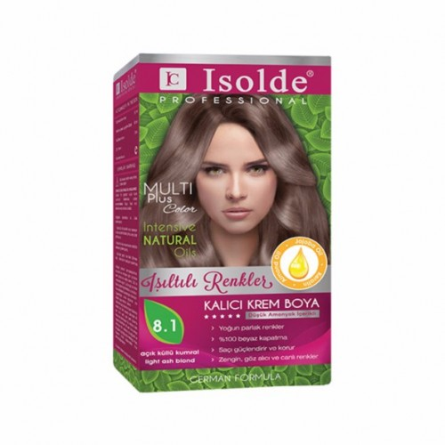 Isolde Multi Plus, Turkish Permanent Herbal Haircolor Cream,8.1, light ash blonde,135 ml