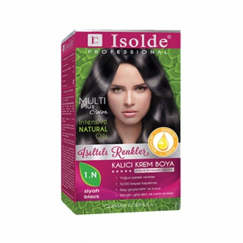 Isolde Multi Plus, Turkish Permanent Herbal Haircolor Cream,1.N Black. 135 ml