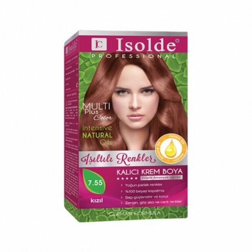 Isolde Multi Plus, Turkish Permanent Herbal Haircolor Cream,7.55 Medium Blonde Deep Red,135 ml