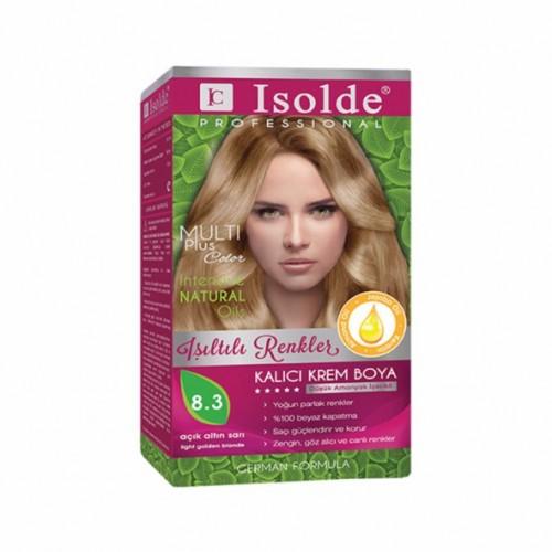 Isolde Multi Plus, Turkish Permanent Herbal Haircolor Cream,8.3 Light golden blonde, 135 ml