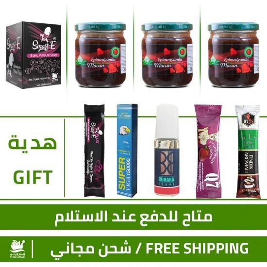 3 × Themra Epimedium Honey, 1 × Smart E Paste, Erection Enhancer, Delayed Ejaculation, 5 free gifts