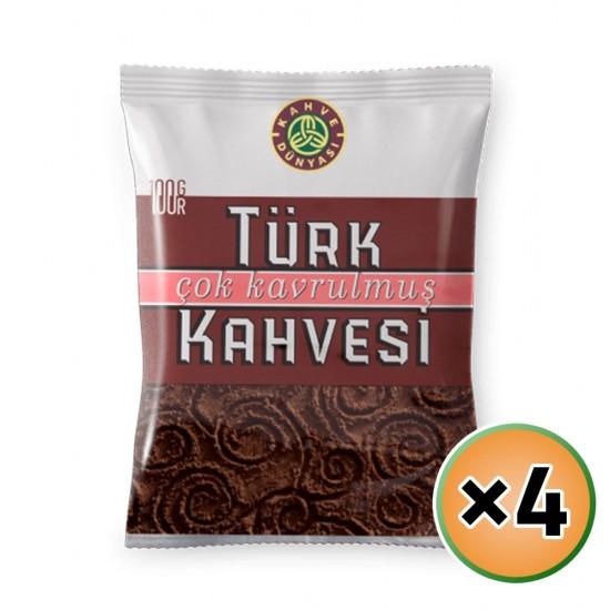 Turkish Coffee, Kahve Dunyasi Coffee, Coffee World, Dark Roast Coffee, 4 × 100, 400 gr