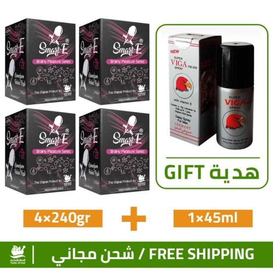 Great Epimedium Offers, Smart Erection Epimedium Paste-North, 4×240gr + Free Gift Super Viga 100000 Delay Spray For Men 45 ml