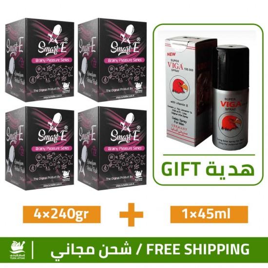 Great Epimedium Offers, Smart Erection Epimedium Paste-South, 4×240gr + Free Gift Super Viga 100000 Delay Spray For Men 45 ml
