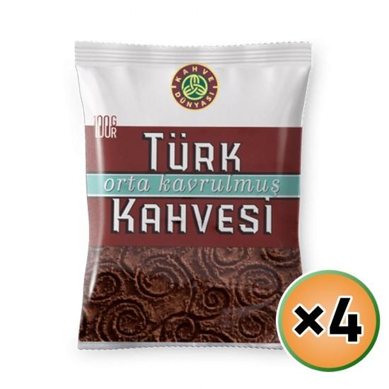 Turkish Coffee, Kahve Dunyasi Coffee, Coffee World, Medium Roast Coffee, 4 × 100, 400 gr
