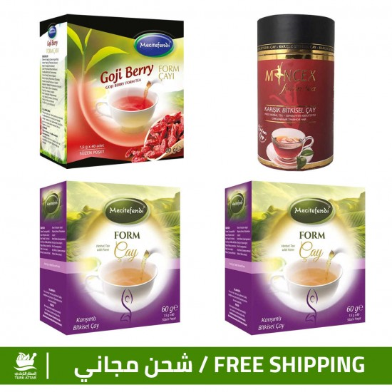 Burn Fats & Prices, Turkish Slimming Set, MINCEX Tea + Goji Berry Tea + Form Tea ×2, 5-12 kilos/month