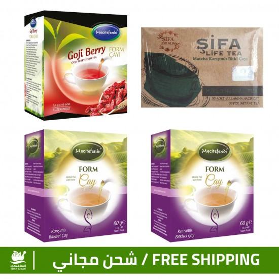 Burn Fats & Prices, Turkish Slimming Set, Shifa Matcha Tea + Goji Berry Tea + Form Tea ×2, 5-12 kilos/month