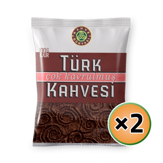 Turkish Coffee, Kahve Dunyasi Coffee, Coffee World, Dark Roast Coffee, 2 × 100, 200 gr