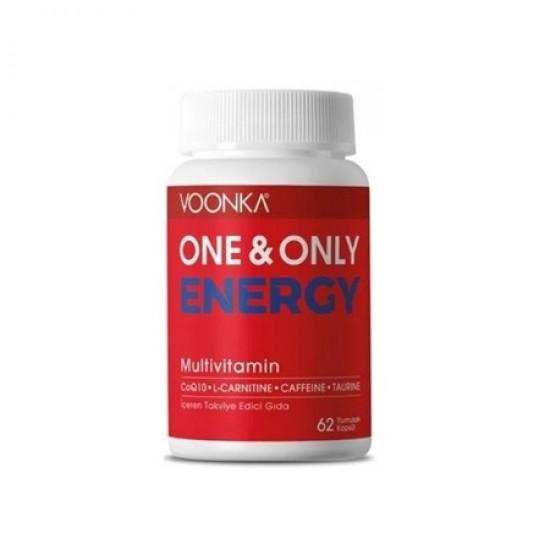 ONE & ONLY ENERGY Multivitamin Coenzyme Q10 L-Carnitine Caffeine Taurine 62 Soft Capsule